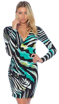 Nicole Andrews Collection Long Sleeve Atlantis 'Forever' Wrap Mini Dress