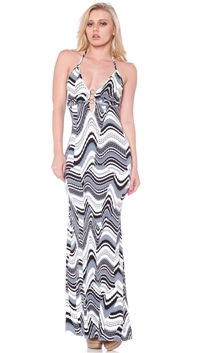 Nicole Andrews Collection Blue Cream 'Malibu' Maxi Dress