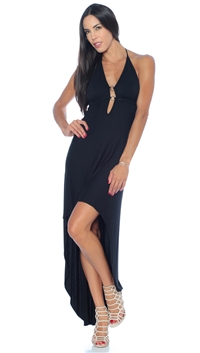Nicole Andrews Collection Black 'Malibu' High-Low Dress