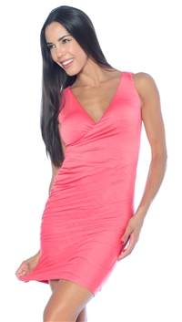Nicole Andrews Collection Coral 'Forever' Wrap Mini Dress