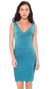 Nicole Andrews Collection Teal 'Forever' Sleeveless Wrap Mini Dress