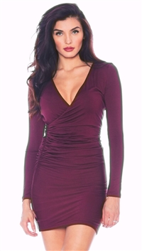 Nicole Andrews Burgundy 'Forever' Wrap Mini Dress