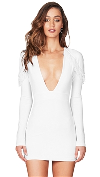 Nookie White 'Mendez' Long Sleeve Mini Dress
