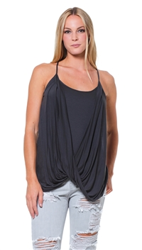 Sen Collection Dark Slate Drape Tank Top