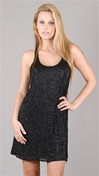 Parker NY Black Bugle Beads Dress
