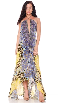Parides Yellow & Blue 'Persian Princess' 3 Ways To Style Maxi Dress