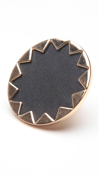 House of Harlow 14 kt Gold Sunburst Cocktail Ring with Black Leather