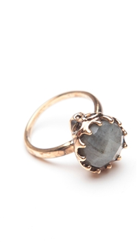 House of Harlow 14 kt Gold Plated Skull Cocktail Ring with Labradorite Stone