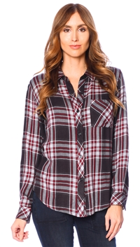 Rails Charcoal & Red Hunter Long Sleeve Button Up