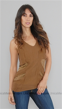 Sheri Bodell Gold Crystal Top w Sheer Brown Layer
