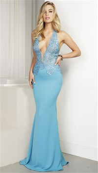 Baccio Couture Turquoise 'Sharon' Hand Painted Caviar Maxi Dress