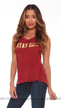 Tyler Jacobs Wine Stay Gold in Foil Tank