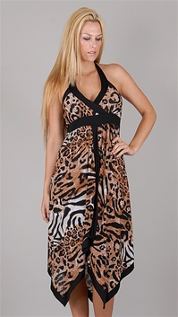 Casting Tabate Leopard Print Black Dress