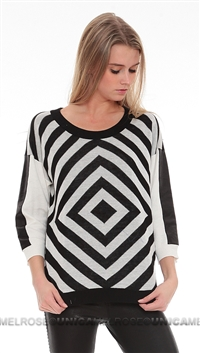 Townsen Black and White Geometric Sweater