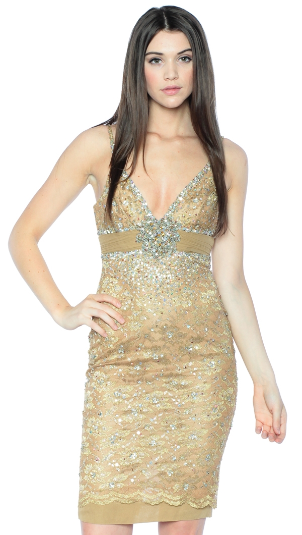 Joyce by Mandalay Champagne Woven Banded Cocktail Dress