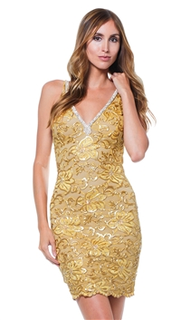 Baccio Couture Gold Zara Hand Painted Mini Dress