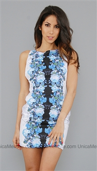 Bec & Bridge Blue Floral Back Cut Out Short Dress