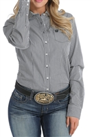 CINCH WOMEN'S BLACK AND WHITE STRIPED WESTERN BUTTON-UP SHIRT