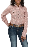 CINCH WOMEN'S PINK AND BROWN GEO PRINT LS WESTERN SNAP SHIRT