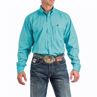 MENS TURQUOISE AND BLACK SQUARE GEOMETRIC PRINT WESTERN BUTTON-DOWN SHIRT
