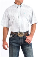 CINCH MENS TURQUOISE AND NAVY TATTERSALL PLAID SHORT SLEEVE WESTERN BUTTON-DOWN SHIRT