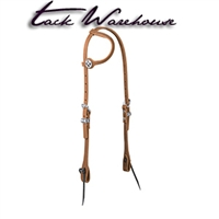 Golden Brown Harness Leather Flat Sliding Ear Headstall, Card Suit