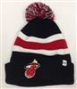 The 47 Brand Breakaway Miami Heat Pom Cuff Beanie Black White Red