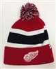 The 47 Brand Breakaway Detroit Red Wings Pom Cuff Beanie Red White Black