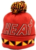 Mitchell & Ness Jacquard Graphic Cuffed Red & Black Miami Heat Beanie
