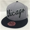Mitchell & Ness XL Wordmark Chicago Bulls Gray & Black Fitted Cap
