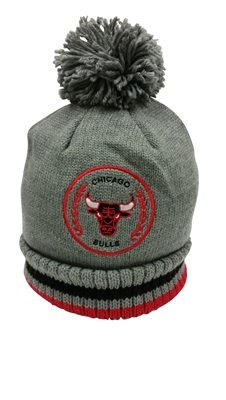 Mitchell & Ness Soft Acrylic Knit Over Sized Pom Chicago Bulls Beanie Gray