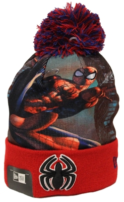 New Era All Out Spiderman Red Pom Beanie