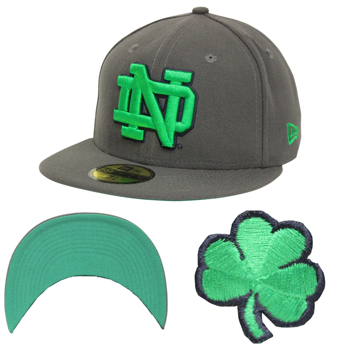 New Era 59Fifty Notre Dame Fighting Irish Graphite Fitted Cap c4197b129c3
