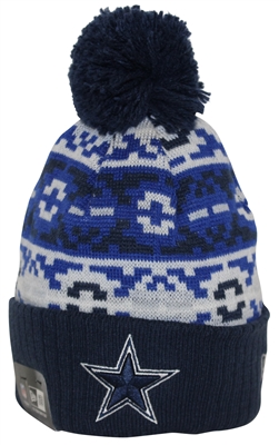 New Era Retro Chill Dallas Cowboys Navy Blue White Pom Beanie