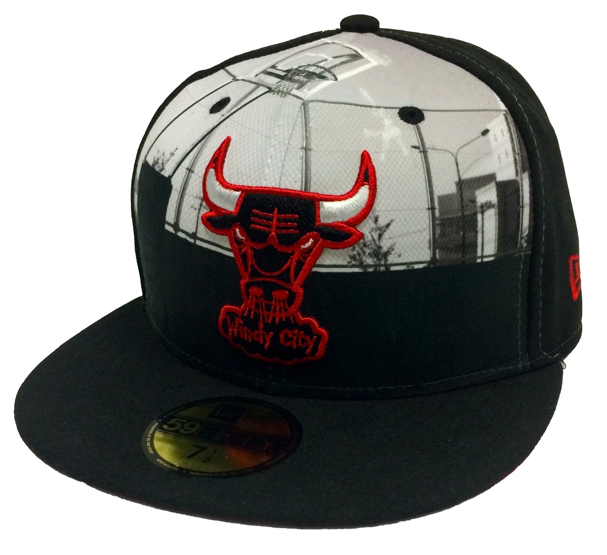 b4a42402007 New Era 59Fifty Round D Way Chicago Bulls Black Fitted Cap