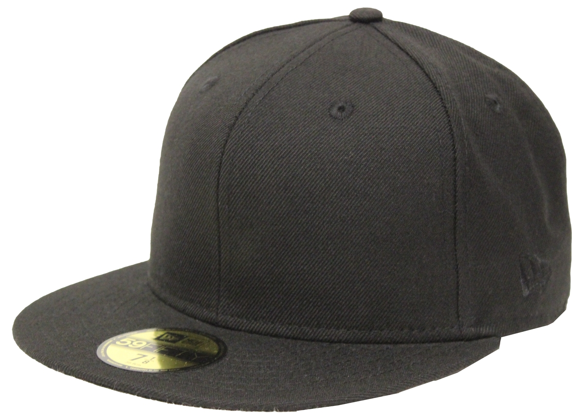 new era 59fifty solid black blank fitted cap. Black Bedroom Furniture Sets. Home Design Ideas