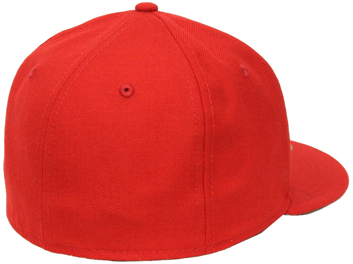 New Era 59Fifty Plain Red Blank Fitted Cap Gray Underbrim Hat Bred New Era  Side Patch e2d582fb6e39