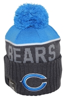 New Era NFL15 Sport Knit Chicago Bears Charcoal Blue Pom Beanie