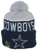 New Era NFL15 On-Field Sport Knit Dallas Cowboys Navy Gray Pom Beanie