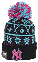 New Era Sweater Chill New York Yankees Black Pink Teal Pom Beanie