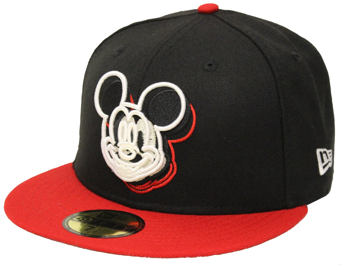 New Era 59Fifty Mickey Mouse Trace 3D Logo Black Red Fitted Cap ... 4aca98a4021