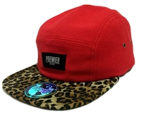 Premier Fits Woven Red & Leopard Print 5-Panel Strapback