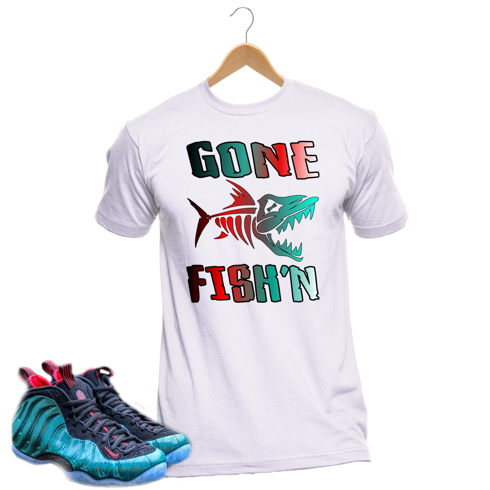 daa93007d08d7 Gone Fishing White Custom T Shirt Nike Foamposite Match T4H ...