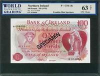 Northern  Ireland, P-CS1 (4), 100 Pounds, ND (1978), Signatures: A.S.J. O'Neill, 63 TOP UNC Choice