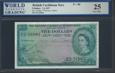 British Caribbean Territory, P-09b, 5 Dollars, 2.1.1957 Signatures: Lartigue/Waterman/Spence 25 Very Fine