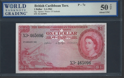 British Caribbean Territory, P-07c, 1 Dollar, 2.1.1961 Signatures: Spence/Reece/D'Andrade 50 TOP About UNC