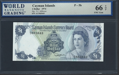 Cayman Islands, P-05b, 1 Dollar, 1974 Signatures: T.C. Jefferson 66 TOP UNC Gem
