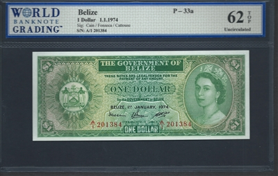 Belize, P-33a, 1 Dollar, 1.1.1974 Signatures: Cain/Fonseca/Cattouse 62 TOP Uncirculated