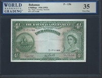Bahamas, P-13b, 4 Shillings, 1936 (1953) Signatures: Higgs/Sweeting/Burnside 35 Very Fine Choice