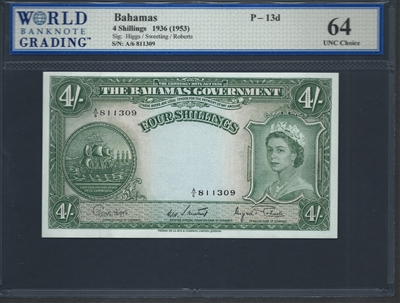 Bahamas, P-13d, 4 Shillings, 1936 (1953) Signatures: Higgs/Sweeting/Roberts 64 UNC Choice